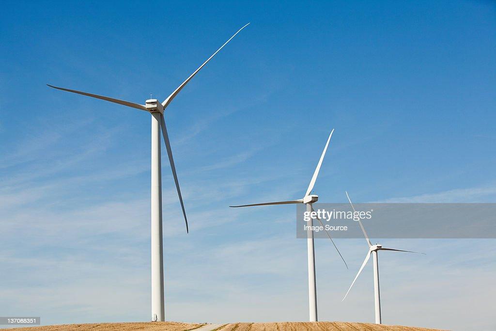 Three wind turbines side by side