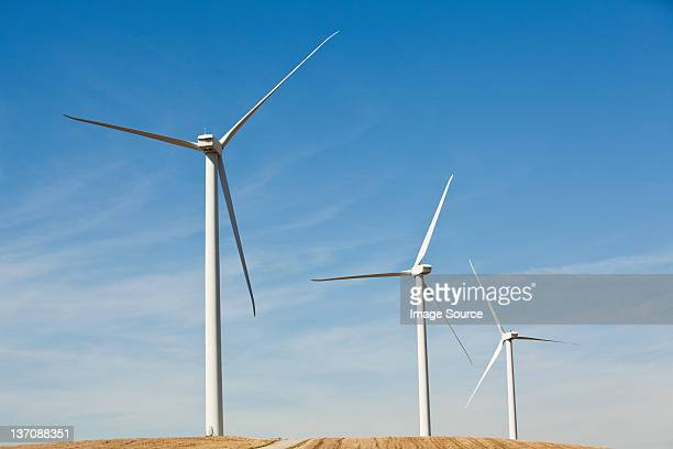Three wind turbines side by side