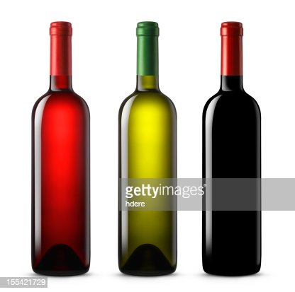 Three wine bottles in various colors on a white background