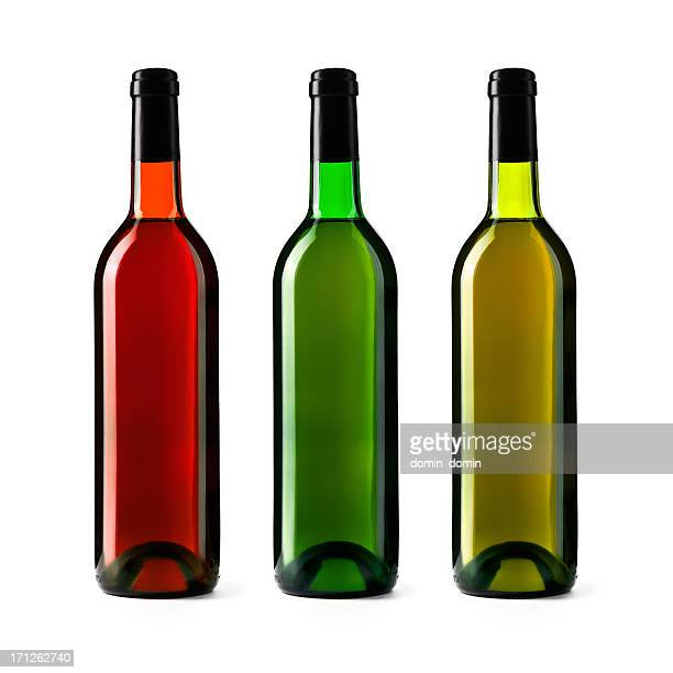 Three wine bottles isolated on white background, red, green, yellow