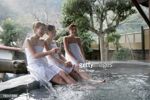 Three woman relaxing in hot tub : Stock Photo