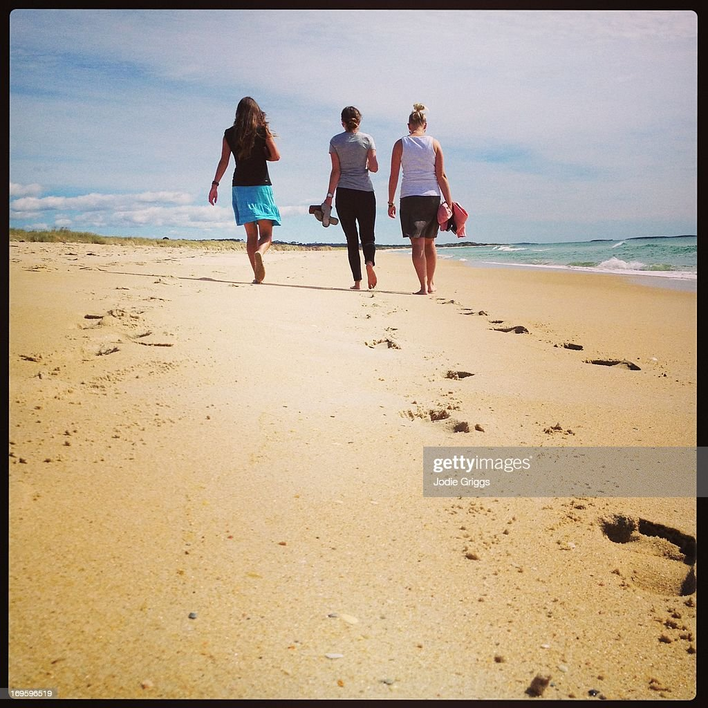 Three woman walking on the beach : Stock Photo