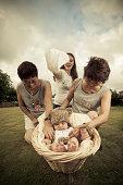 Three women and baby
