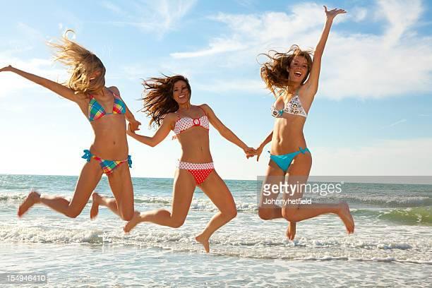 Three women enjoying the beach