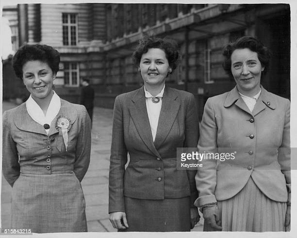 Three women of the British Labour Party canvassing for the upcoming election campaign including Mrs LlewellynDavies and Mrs Lena Jeger London May...