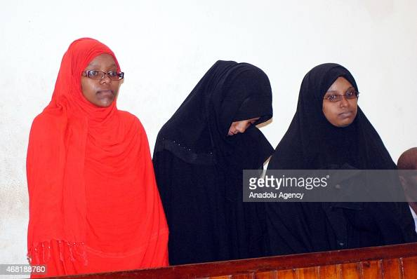 Three women on Monday were brought before a court in Kenya's coastal city of Mombasa on March 30 2015 after having been arrested by security forces...