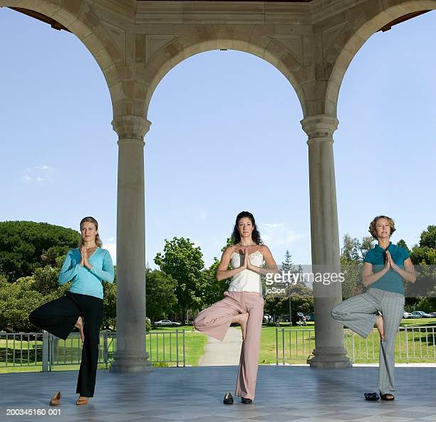 Three women performing yoga exercise in pavillion
