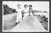 Three Women walking in 1934,Black And White