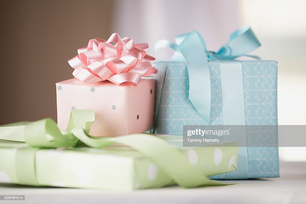 Three Wrapped Gifts : Stock Photo
