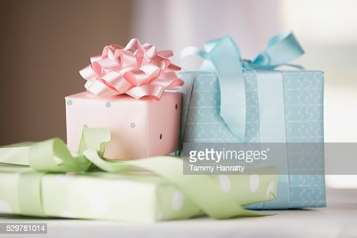 Three Wrapped Gifts : Stockfoto