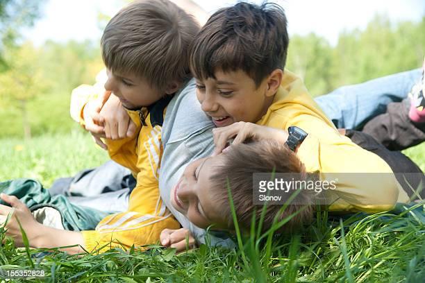 Three Wrestling Boys