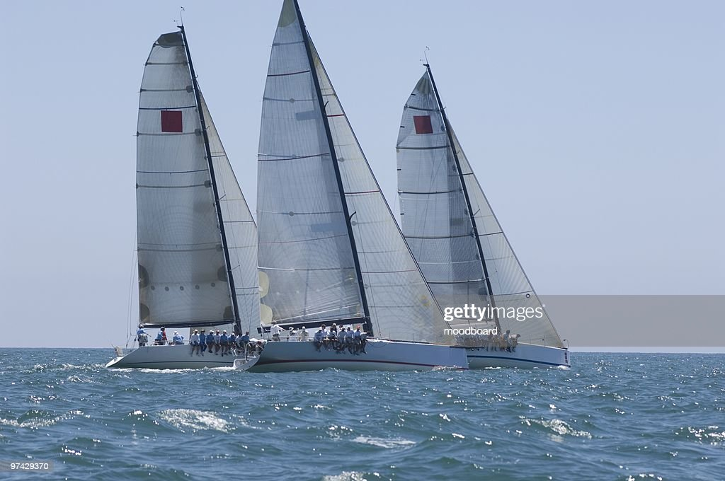 Three yachts compete in team sailing event, California : Stock Photo