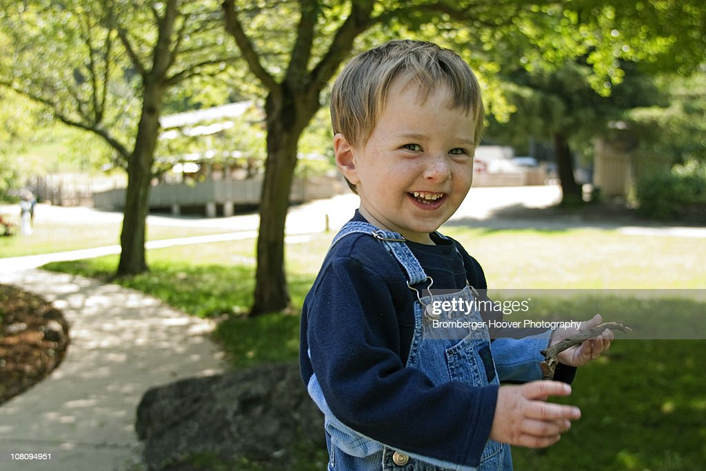 Three Year Old Boy Having Fun at Park : Stock Photo