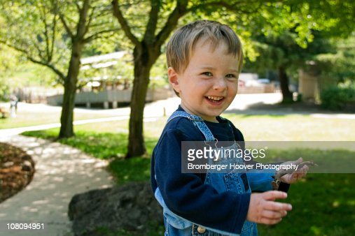 Three Year Old Boy Having Fun at Park : Stock-Foto