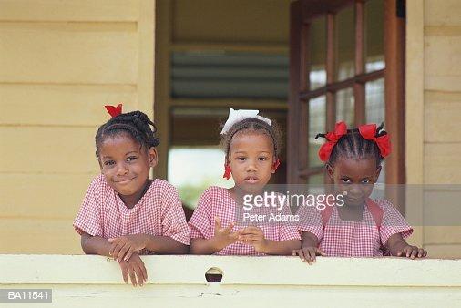 Three young girls (3-6) at nursery school, portrait : Stock Photo