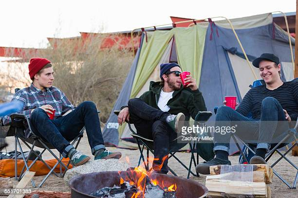 Three young male friends sitting chatting around campfire, Anza-Borrego Desert State Park, California, USA