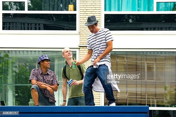 Three young men having fun