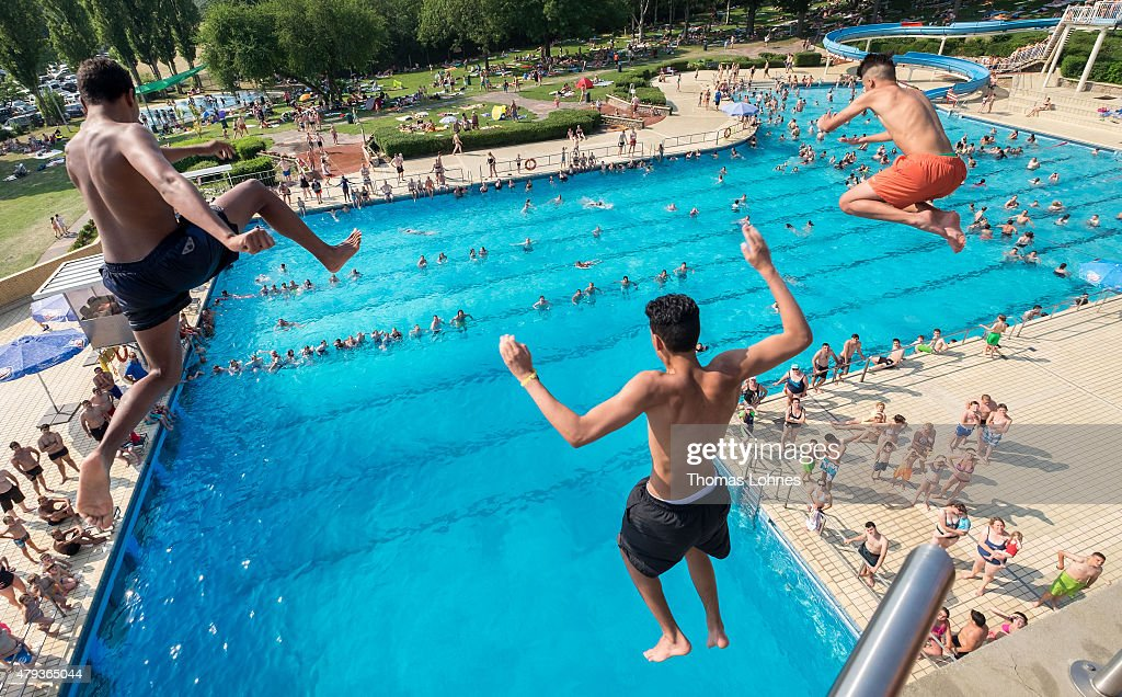 Darmstadt Swimming Pool summer heat wave reaches northern europe photos and images getty