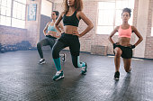 Portrait of three young women doing workout together in gym. Females exercising in fitness class.