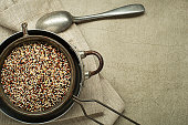 Three-color quinoa seeds. Superfood and healthy gluten free eating concept.