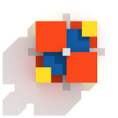 Structure made of colored cubes: yellow, red and blue. White background.