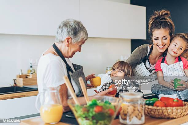 Three-generation family in the kitchen
