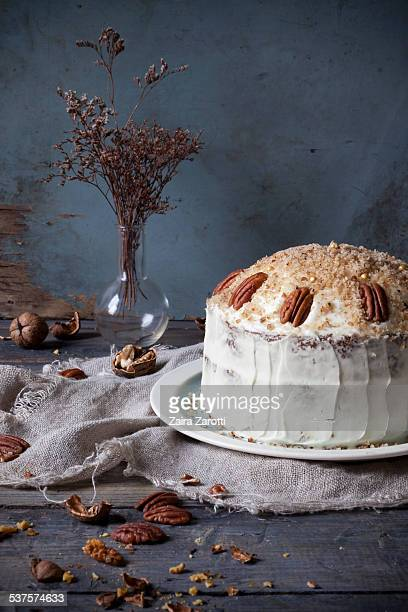 Three-layer carrot cake with cream cheese frosting