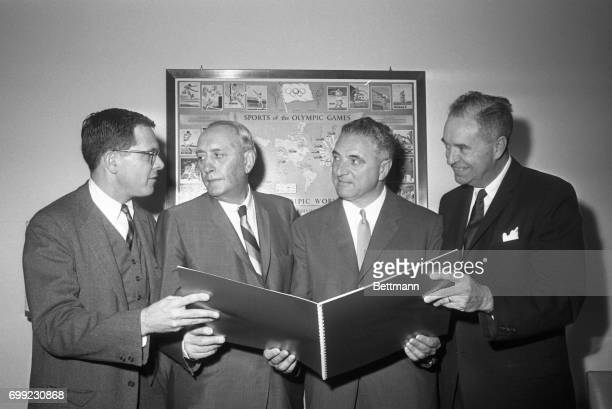Threeman delegation from San Francisco shows US Olympic Committee Kenneth Wilson makes a request for the 1968 Summer Olympics as committee meets at...