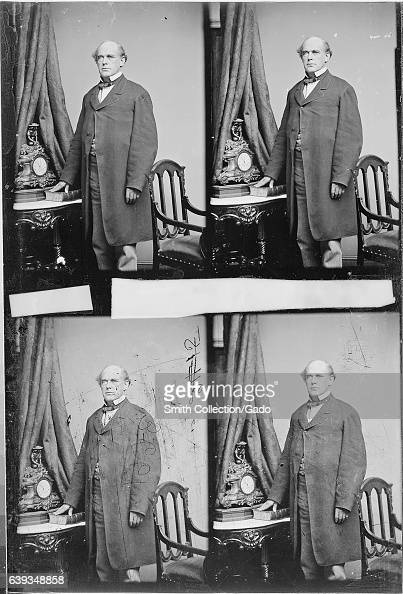 Threequarter length portrait of former Chief Justice of the United States Salmon P Chase standing next to a table on which rests a clock 1863 Image...
