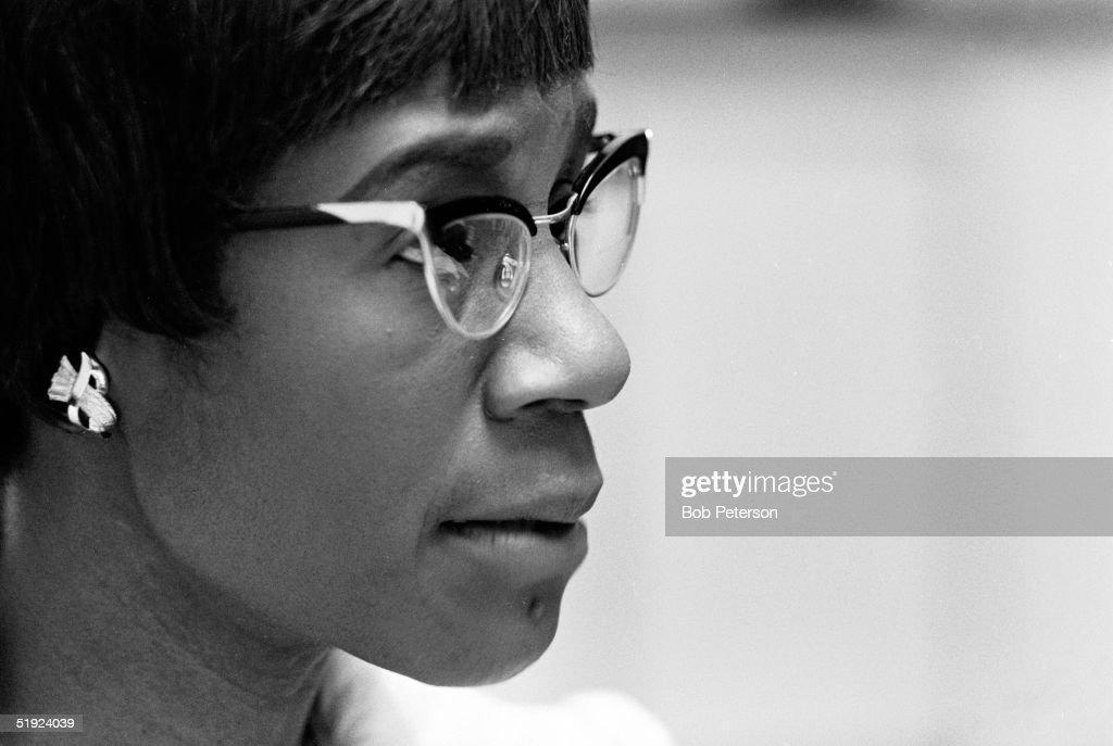 Three-quarter profile portrait of American Congresswoman Shirley Chisholm (1924 - 2005), Washington DC, 1970.