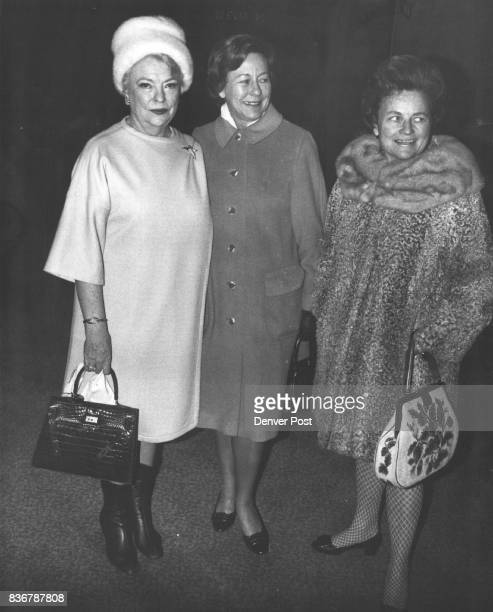 Threesome Chat Before Luncheon At Brown Palace Taking in IIE luncheon were from left Mrs Walter Land Mrs Charles Buxton Mrs Benjamin Stapleton Jr...