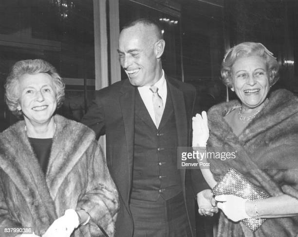 Threesome For Ballet Movie Benefit Moviegoers From left Miss Polly Grimes Richard Hicksand Mrs Alfred Hicks were together for benefit Tuesday at...