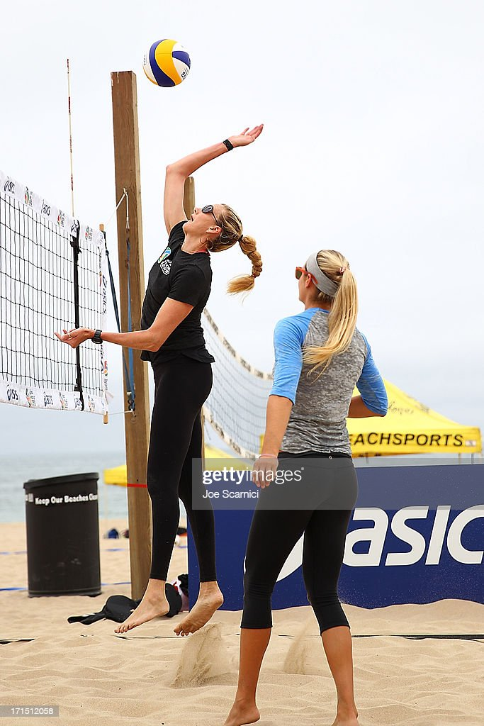 Three-time gold medalist <a gi-track='captionPersonalityLinkClicked' href=/galleries/search?phrase=Kerri+Walsh+Jennings&family=editorial&specificpeople=162761 ng-click='$event.stopPropagation()'>Kerri Walsh Jennings</a> returns to Beach Volleyball at the ASICS World Series of Beach Volleyball on June 25, 2013 in Manhattan Beach, California