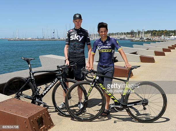 Threetime Tour de France winner Britain's Chris Froome of Team Sky poses for photos with Colombia's Esteban Chaves of cycling team OricaScott in...