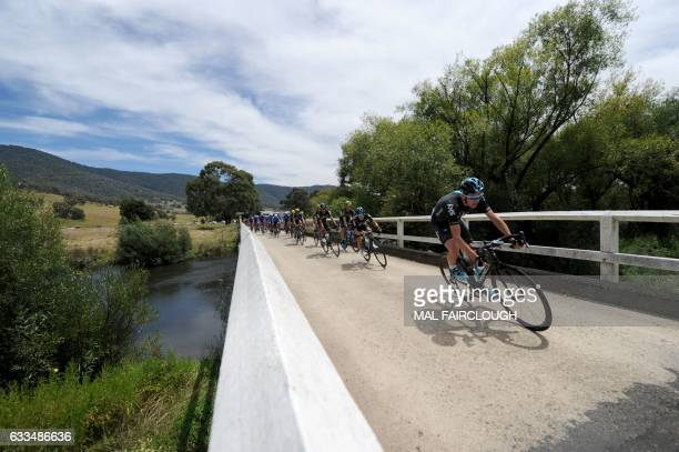 Threetime Tour de France winner Britain's Chris Froome of Team Sky takes part in stage one of the 2017 Herald Sun Tour cycling event in Melbourne on...