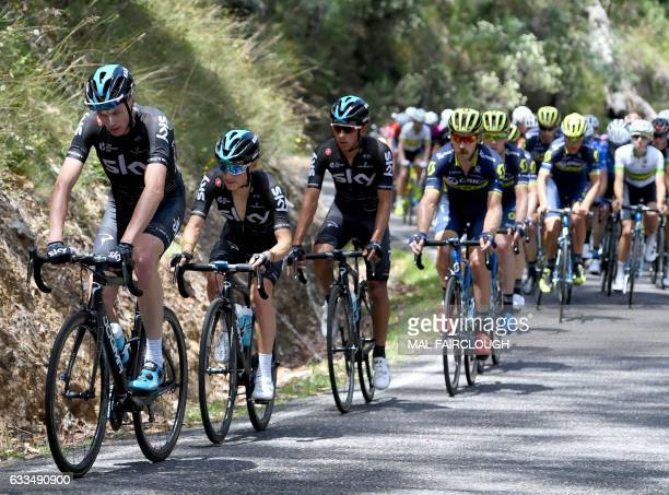 Threetime Tour de France winner Britain's Chris Froome of Team Sky takes part in stage one of the 2017 Herald Sun Tour cycling race in Melbourne on...