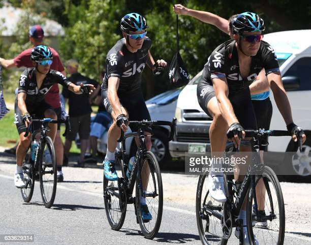 Threetime Tour de France winner Britain's Chris Froome of Team Sky goes through the feed zone during stage two of the 2017 Herald Sun Tour cycling...