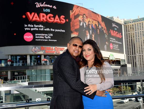 Threetime world champion boxer Fernando Vargas and his wife Martha Vargas pose on the Las Vegas Strip in front of their series billboard on January...