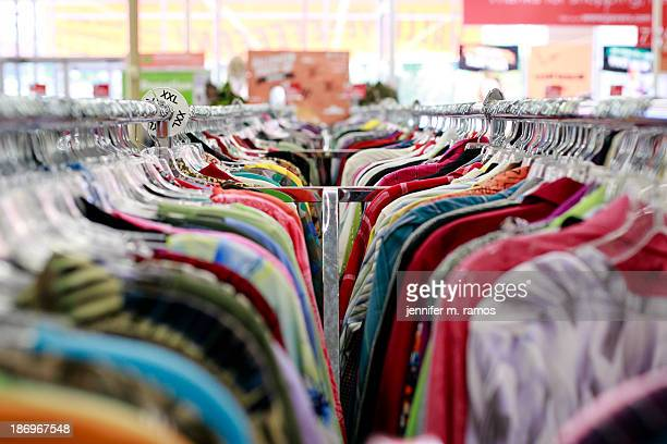 Thrift store clothing racks