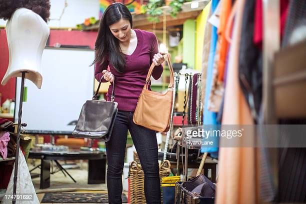 Thrift Store Shopping Young Woman