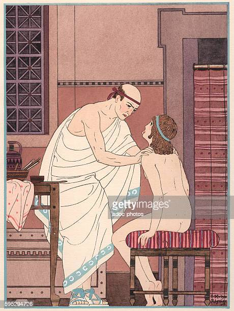 A Throat Examination Illustration of the works of Hippocrates by Joseph Kuhn Regnier In 1932 Colour lithograph