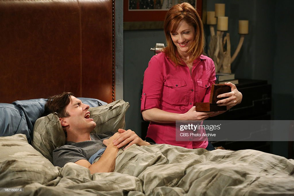 'Throgwarten Middle School Mysteries' --When Walden runs into his ex-wife at a high-end singles mixer and they talk about getting back together, Alan worries that she's not good for Walden, on TWO AND A HALF MEN, Thursday, Feb. 21 (8:31 ' 9:01 PM, ET/PT) on the CBS Television Network. Judy Greer returns as Bridget, Walden's ex-wife. Left: Walden Schmidt (Ashton Kutcher), Right: Bridget (Judy Greer) m
