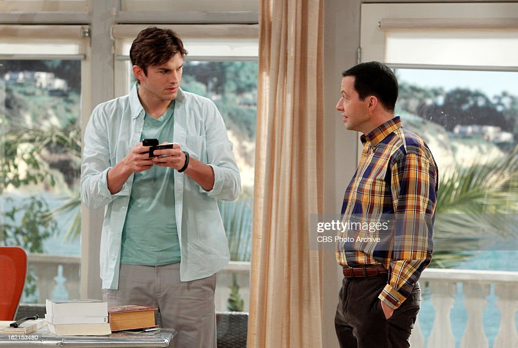 'Throgwarten Middle School Mysteries' -- When Walden runs into his ex-wife at a high-end singles mixer and they talk about getting back together, Alan worries that she's not good for Walden, on TWO AND A HALF MEN, Thursday, Feb. 21 (8:31 ' 9:01 PM, ET/PT) on the CBS Television Network. Judy Greer returns as Bridget, Walden's ex-wife. Left: Ashton Kutcher (Walden Schmidt), Right: Alan Harper (Jon Cryer).