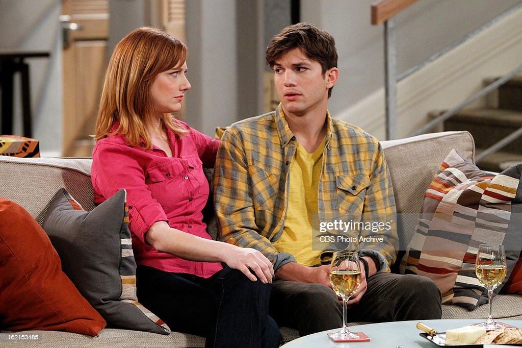 'Throgwarten Middle School Mysteries' -- When Walden runs into his ex-wife at a high-end singles mixer and they talk about getting back together, Alan worries that she's not good for Walden, on TWO AND A HALF MEN, Thursday, Feb. 21 (8:31 ' 9:01 PM, ET/PT) on the CBS Television Network. Judy Greer returns as Bridget, Walden's ex-wife. Left: Bridget (Judy Greer), Right: Walden Schmidt (Ashton Kutcher).