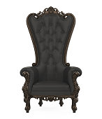 Throne Chair isolated on white background. 3D render