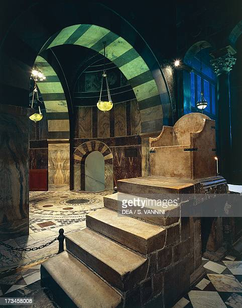 Throne of Charlemagne in the Palatine Chapel Aachen Cathedral RhinelandWestphalia Germany