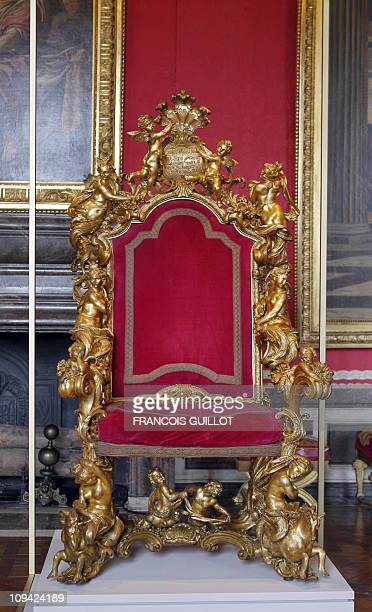 A throne of pope Pie VI is displayed on February 25 2011 at the Chateau de Versailles southwest of Paris prior to the exhibition 'Trones en majeste'...