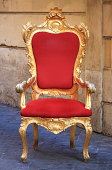 Emperor throne made with gold and red velvet