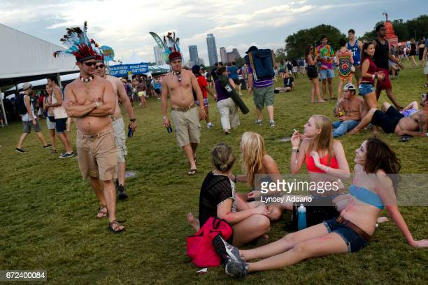 Throngs of people attend the Austin City Limits music festival to listen to Fitz and the Tantrums and Stevie Wonder among other artists in Austin...