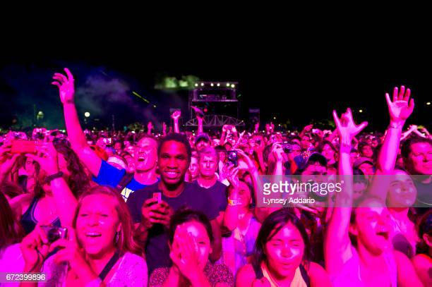 Throngs of people attend the Coldplay concert at the Austin City Limits music festival to listen to Coldplay Kayne West among other artists in Austin...